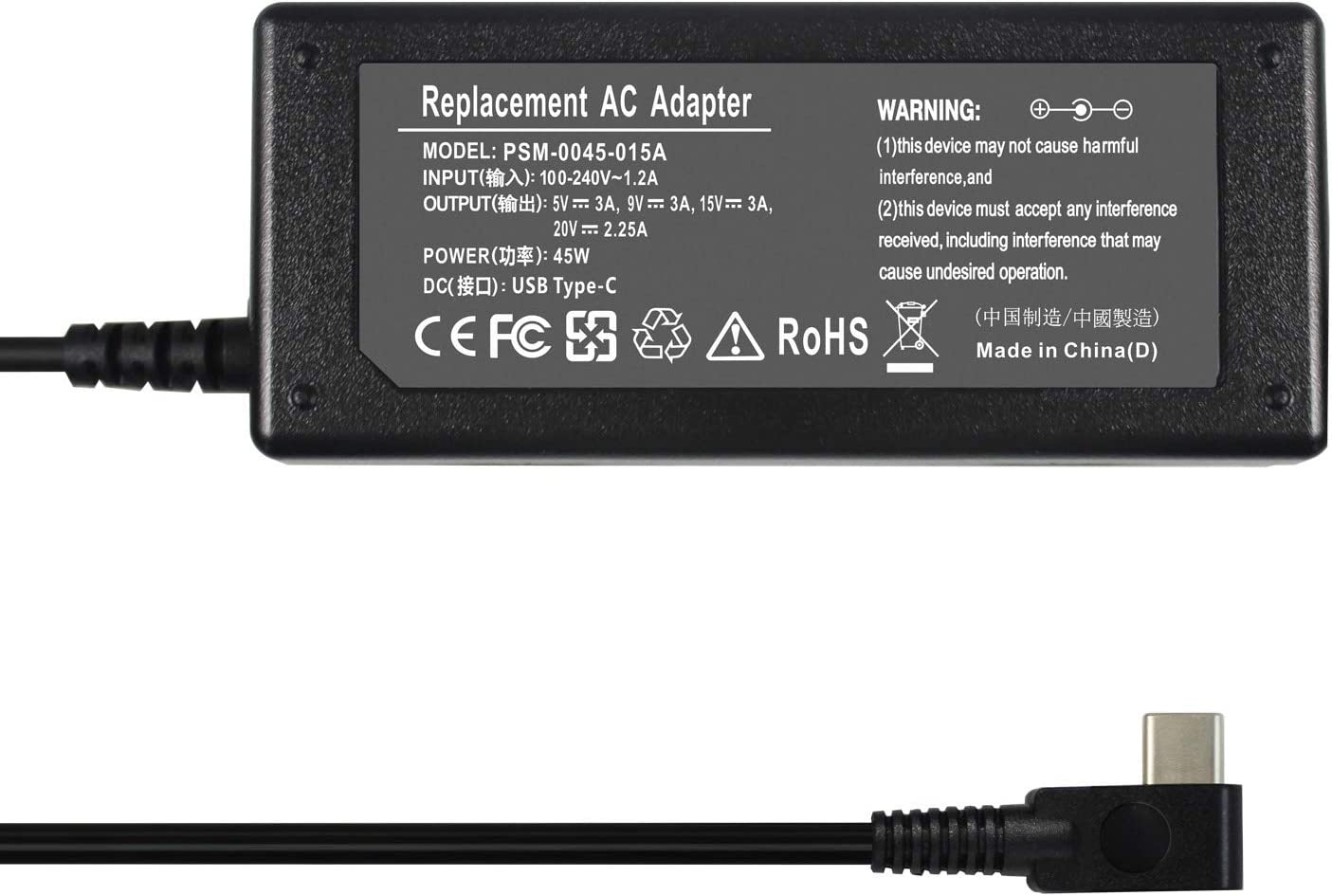 EBOYEE 45W USB-C Charger Power Adapter Replacement for Acer Chromebook R13 11 11A G6 EE Convertible CB5-312T N16Q12 N17Q5 N18Q1 N15Q13 PA-1450-78 PA-1450-80 A16-045N1A ADP-45PE B Chromebook 315