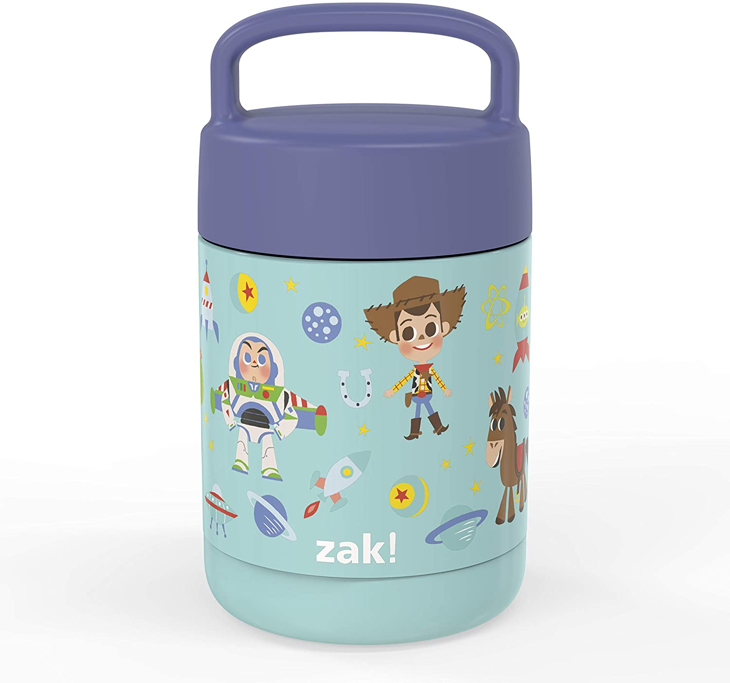 Zak Designs Disney Pixar Movie Kids' Vacuum Insulated Stainless Steel Food Jar with Carry Handle, Thermal Container for Travel Meals and Lunch On The Go, 12 oz, Toy Story 4