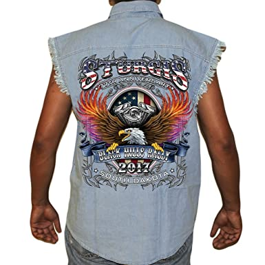 bcb29ebc54 Amazon.com  Biker Life USA 2017 Sturgis B-Strong Cut-Off Denim Shirt ...