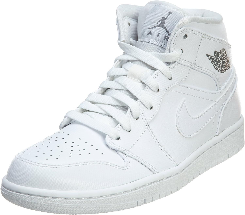 Nike Men s Air Jordan 1 Mid White Cool Grey White Basketball Shoe – 12 D M US