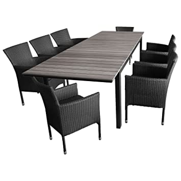 Sitzgruppe Terrassenmöbel Gartenmöbel Set Gartengarnitur   Gartentisch,  Polywood Tischplatte Grau, Ausziehbar