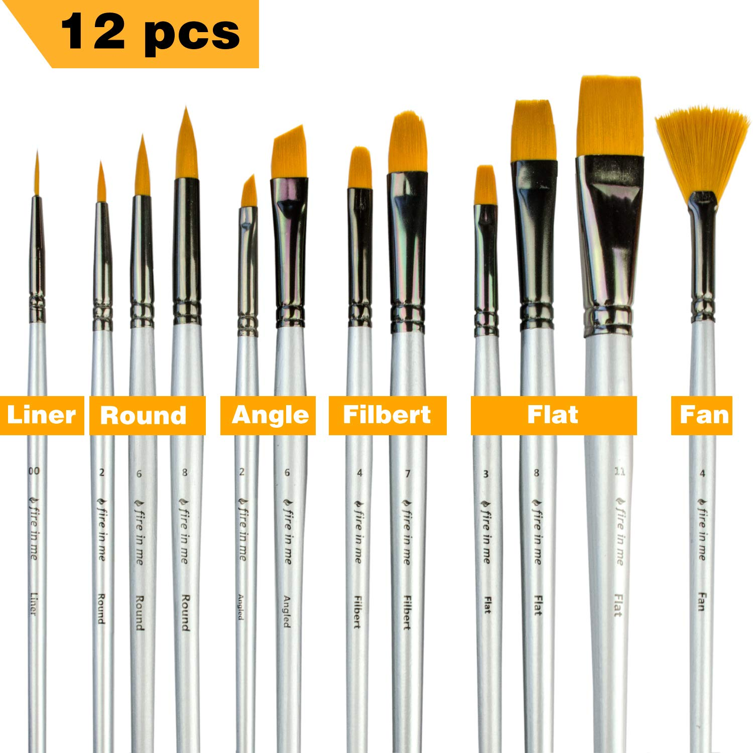 Paint Brushes for Acrylic Painting Watercolor Oil - Body and Face Paint Brushes. Best Professional Art Supplies Painting Brush Set of 12 pcs for Adults and Kids