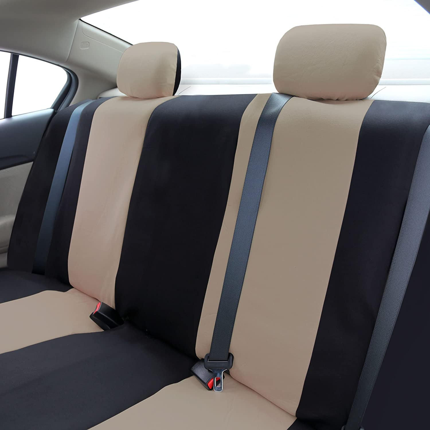 Amazon FH FB051R012 Multifunctional Flat Cloth Bench Seat Covers Allow 40 60 50 Split Beige Black Color Automotive