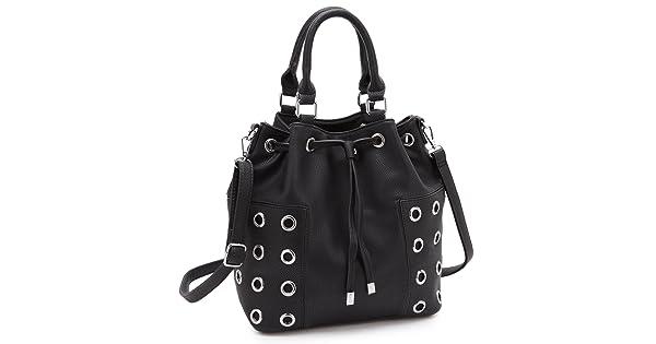 8c436f52d954 Dasein Drawstring Grommet Bucket Shoulder Bag Crossbody Black