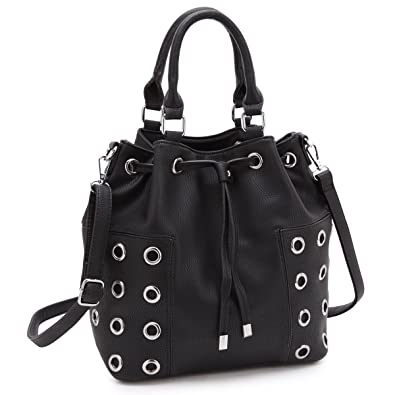 Dasein Drawstring Grommet Bucket Shoulder Bag Crossbody Black ... a84fcea30f150