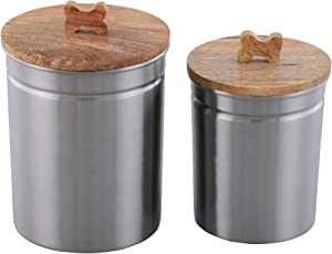 Pet Canisters, Pet Canister for Fresh & Dry Food Storage Container, Steel Canister with Bird Seed, Pet Food Canister for Dog & Cat, Set of 2, Matt