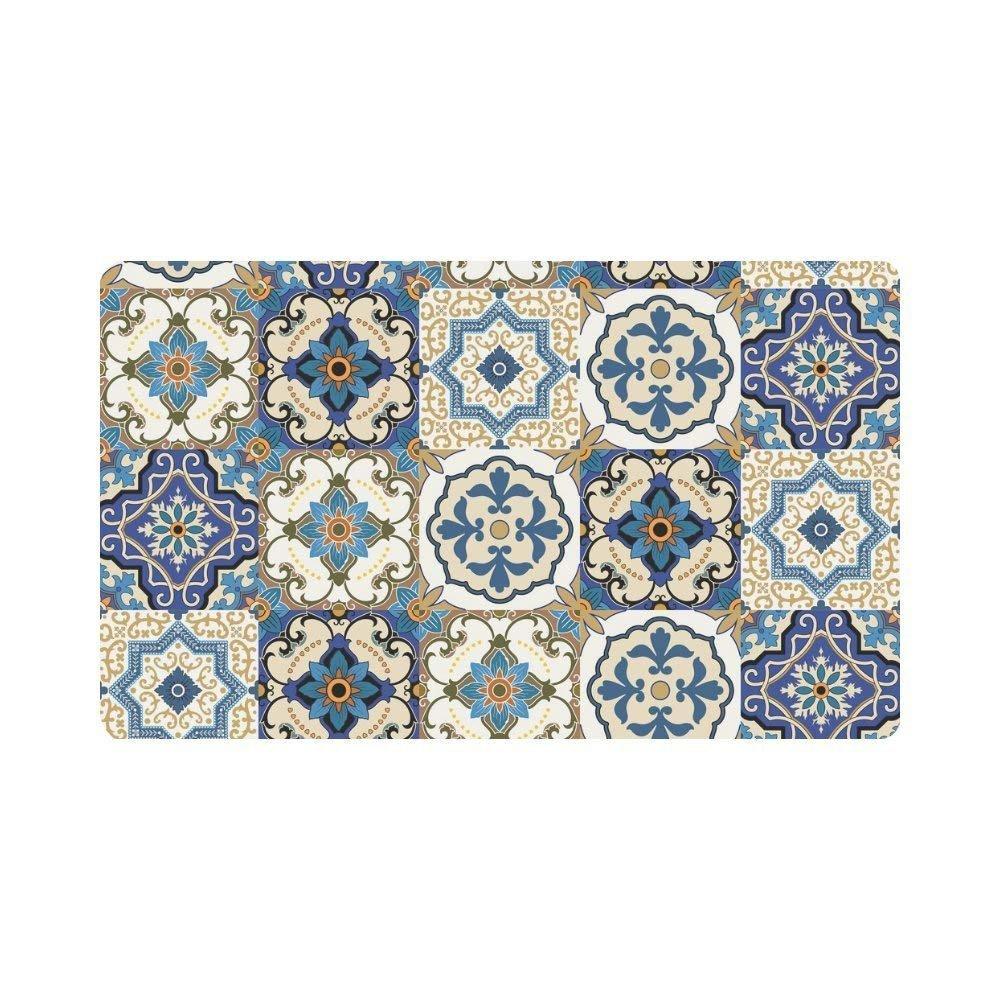 Meimei2Magnifique Patchwork marocain carrelage Paillasson d'entrée intérieur extérieur Tapis Tapis de sol Racloir Paillasson antidérapant Home Décor, Envers en caoutchouc Large 59,9cm (L) x 39,9cm (L)