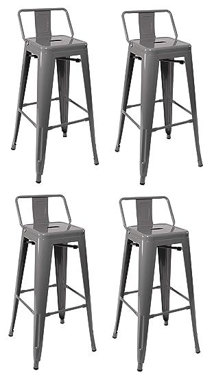 "Bestmassage Bar Stools Metal Counter Height 30/"" Industrial Stackable Modern Back"