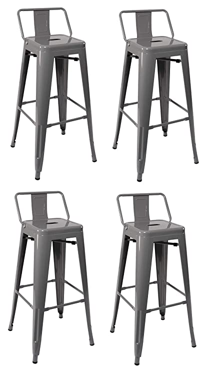 Duhome Industrial Design 30 Metal Bar Stools Set Of 4 With Back Rest Iron Bar Stool Grey