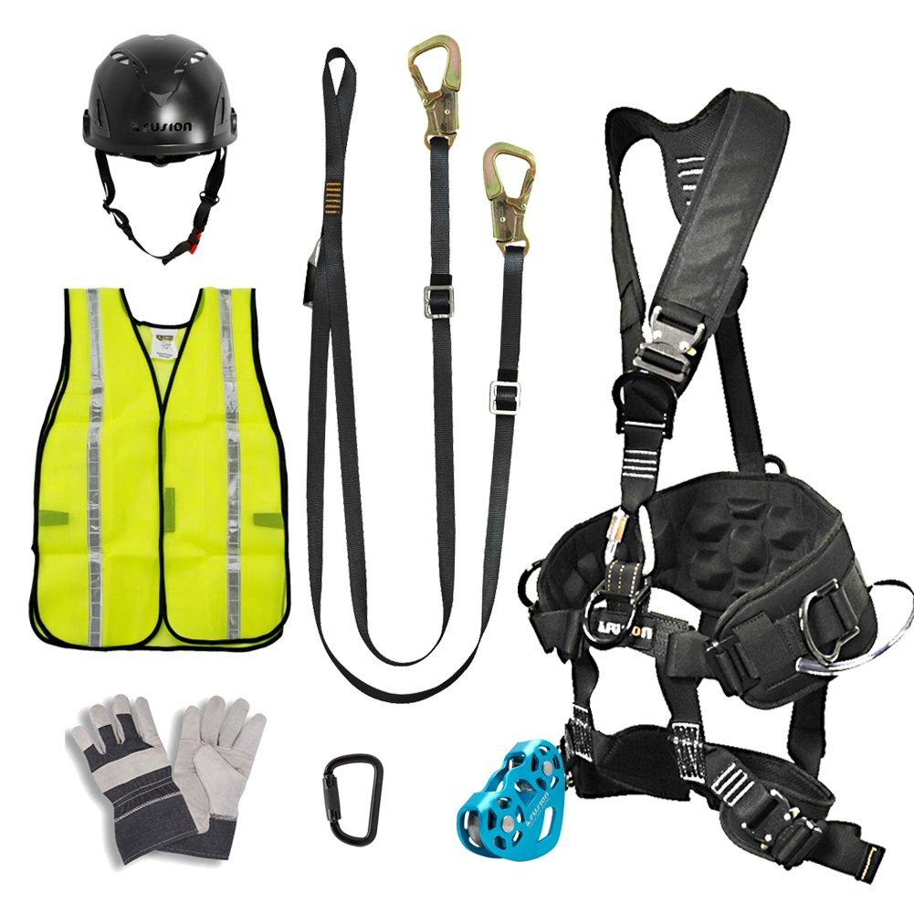 FUSION CLIMB プロ裏庭のジップラインキットハーネスストラップトロリーカラビナヘルメットベストグローブバンドルFK-A-HLTCHVG-11   B01LZYAKNW