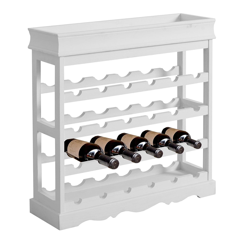 Bianco Salotto Cucina RE4223 Misure: 70 x 70 x 22 cm Rebecca Mobili Cantinetta Classica con 24 vani - Art Mobile portabottiglie Vino HxLxP