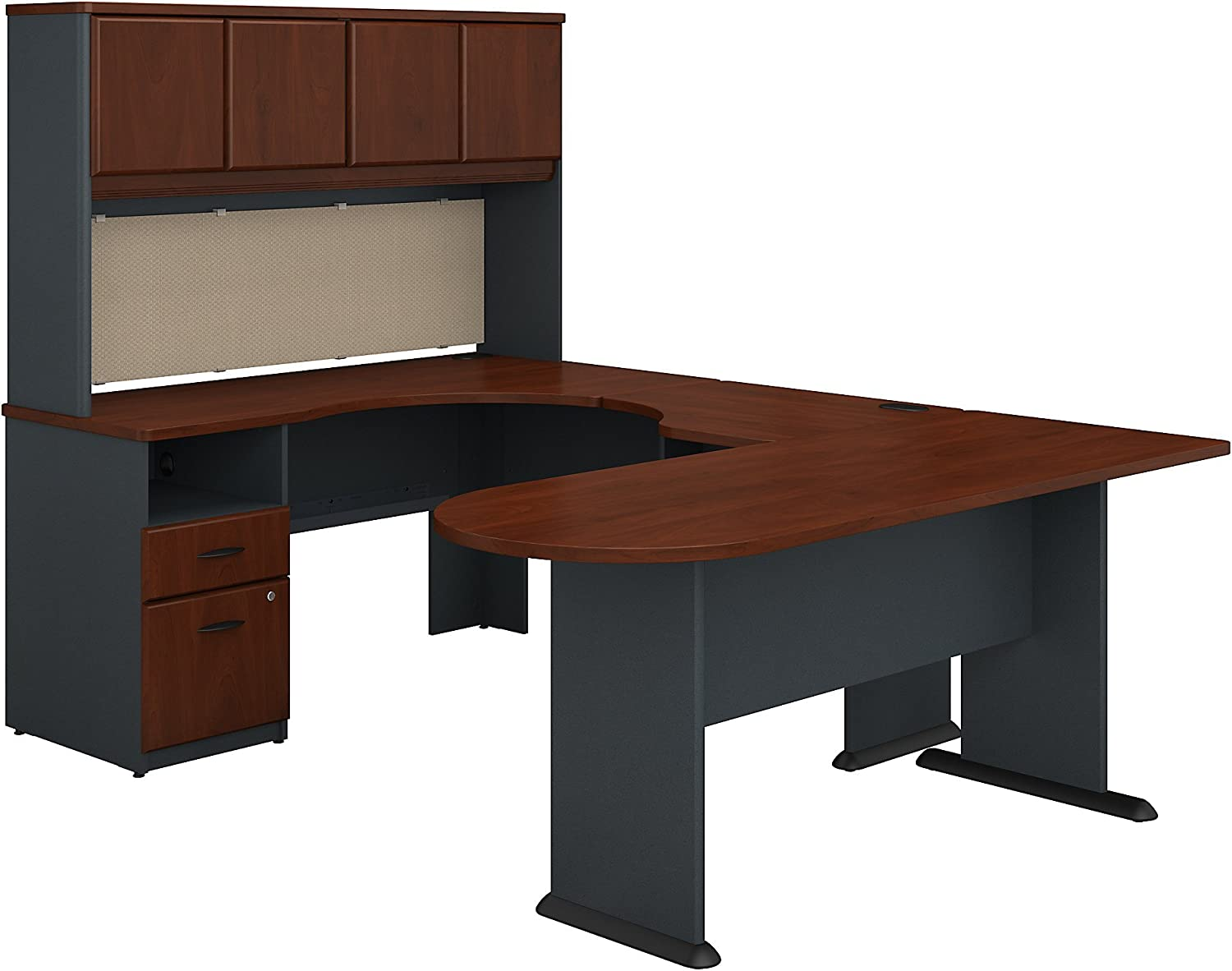 Bush Business Furniture Series A U Shaped Desk with Hutch, Peninsula and Storage in Hansen Cherry and Galaxy