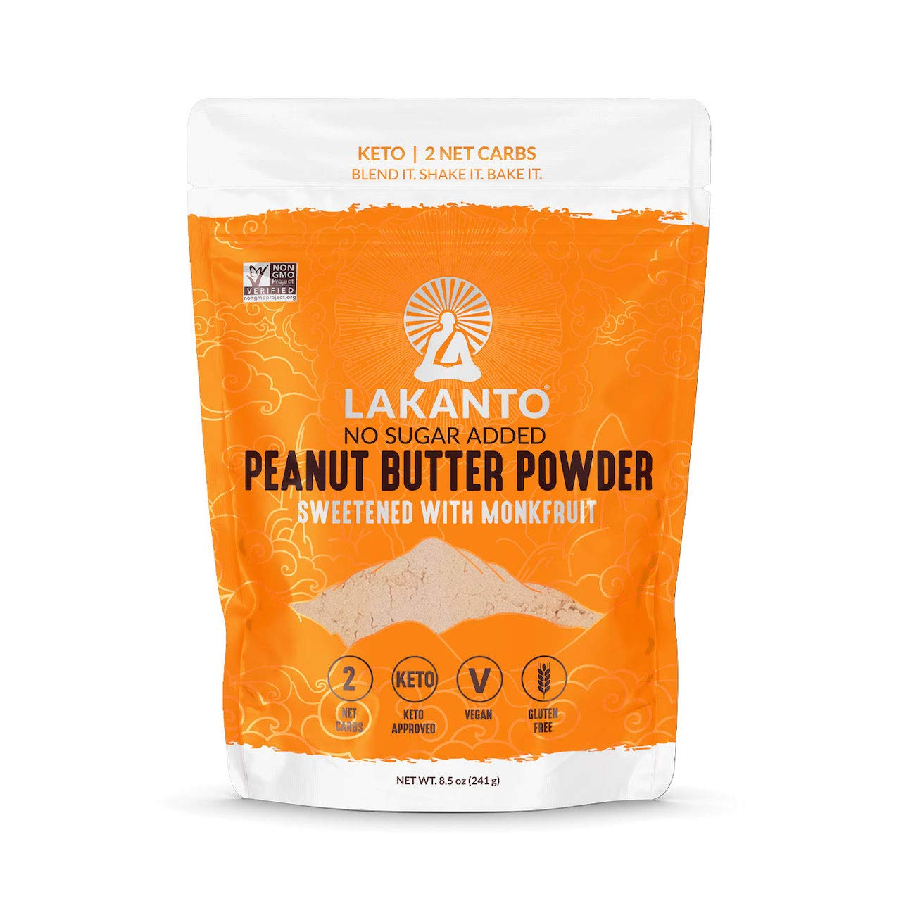 Lakanto Peanut Butter Powder, 2 Net Carb Keto Powdered Peanut Butter, Sugar Free, Vegan, Gluten Free for Smoothies, Cookies, Sauces and Cooking, Naturally Sweetened with Monkfruit (8.5 Ounce)