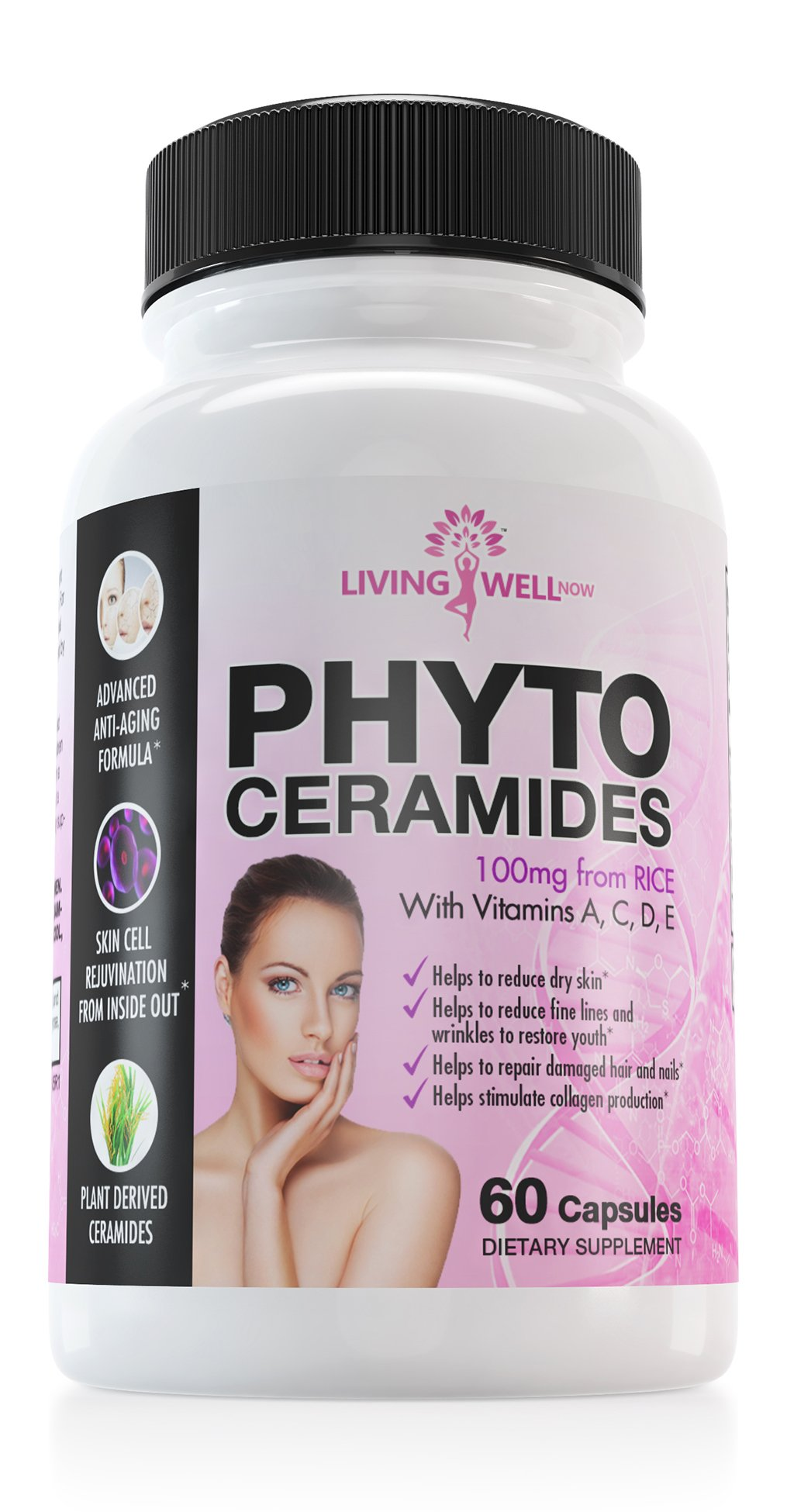 60 Phytoceramides Pills. Natural Anti Aging and Anti Wrinkle Supplement with ACDE. Promotes Skin Tightening & Cell Renewal. Plant-Derived Rice Based. Reduce Wrinkles, Fine Lines and Dry Skin