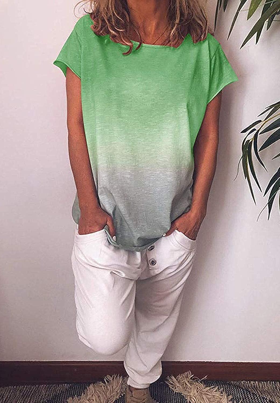 Shejianke Womens Gradient Rainbow Short Sleeve T-Shirt Summer Casual Crew Neck Tunic Top Blouse