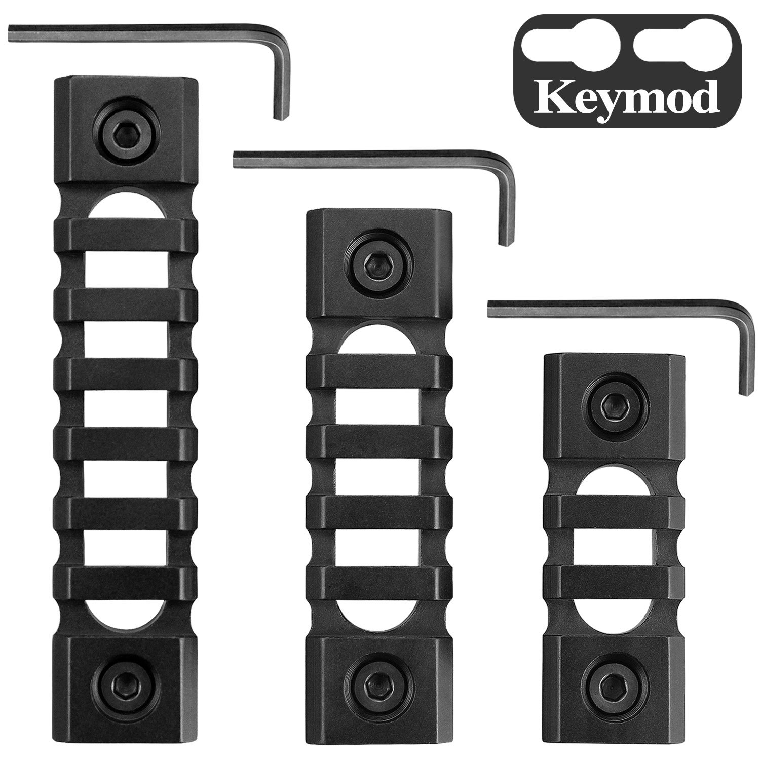 Monoki Keymod Picatinny Rail Sections, 3-Slot 5-Slot 7-Slot Lightweight Picatinny Rail Section for Keymod Handguard Mount Rail System with 3 Allen Wrench & Solid-Style, 3 Pack (3/5/7-Slot)