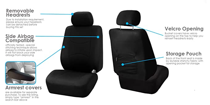 Amazon FH GROUP FB051115 Multifunctional Flat Cloth Seat Covers Airbag Compatible Split W FH2033 Steering Wheel Cover And Belt Pads