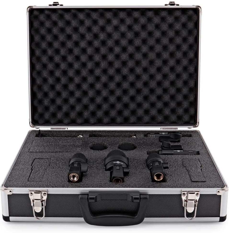 5 Piece Drum Mic Set with Carry Case by Gear4music