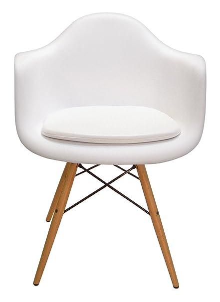 Cushion For Eames Molded Plastic Arm Chair (White Vinyl)