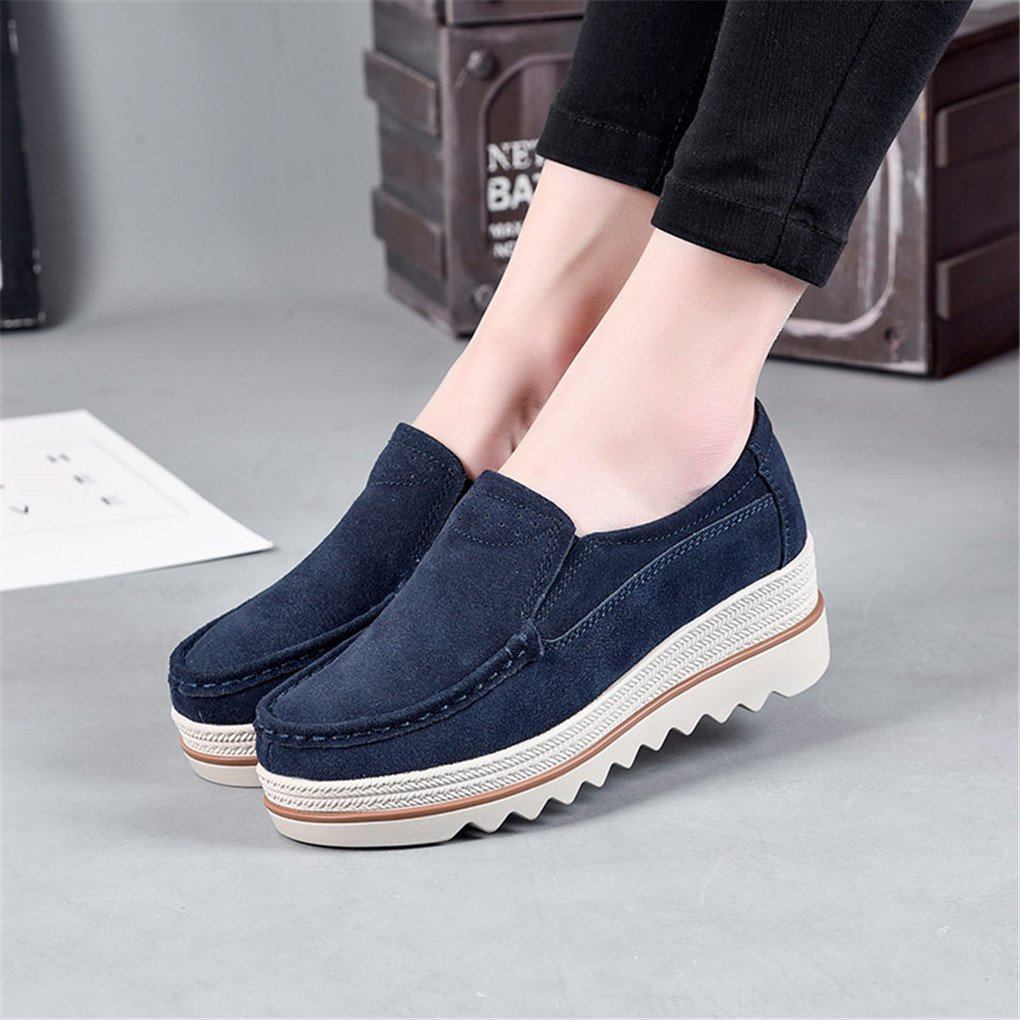 Ruiatoo Platform Shoes for Women Suede Slip On Loafers Wedge Platform Sneakers Comfort Moccasins Low Top Casual Deep Blue 37