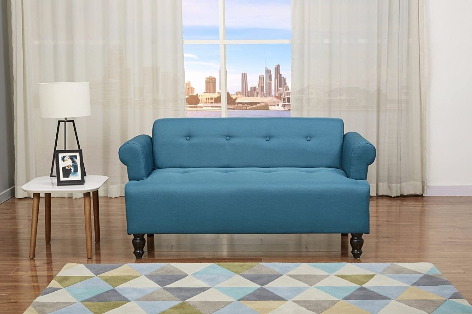 Victoria 2 Seater Sofa- Fabric Button Scrolled- Teal Blue Modern:  Amazon.co.uk: Kitchen & Home