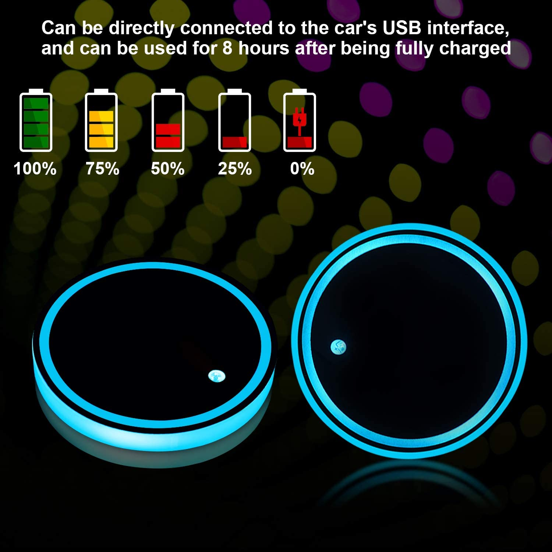 Boao 2 Piezas Posavasos LED Posavasos de Luz de Coche 7 Colores Almohadila de Vaso Luminiscente Alfombrilla de Carga USB para Decoraci/ón Interior de Coche L/ámpara Atm/ósfera Luz