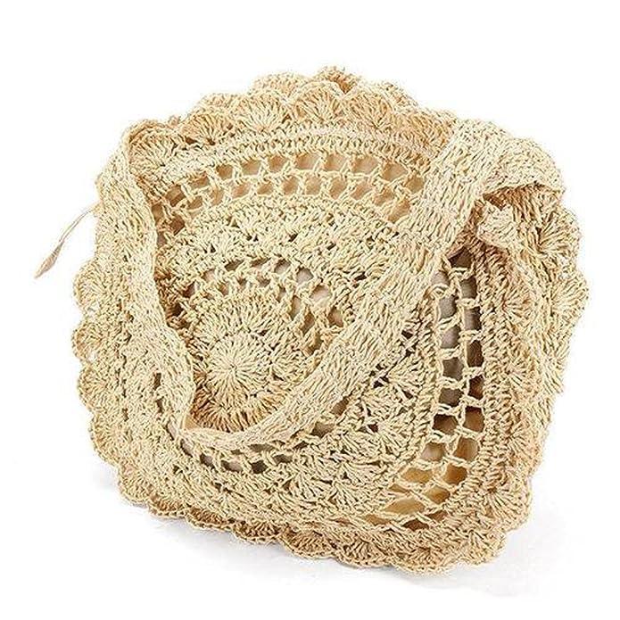 Verano mujeres ronda playa paja bandolera bolso bolso crochet