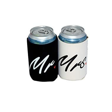 QualityPerfection - Set Of 2 - Mr & Mrs - Black and White Wedding Can and Bottle Coolers, Neoprene Coolies for Cans Great For Wedding Gifts - Engagement Gifts - Anniversary Gifts