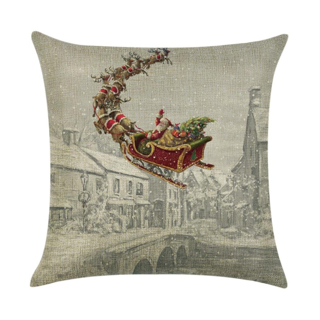 Iuhan Merry Christmas Pillow Case Santa Linen Sofa Funny Ghost Pad Cushions Home Decoration (I)