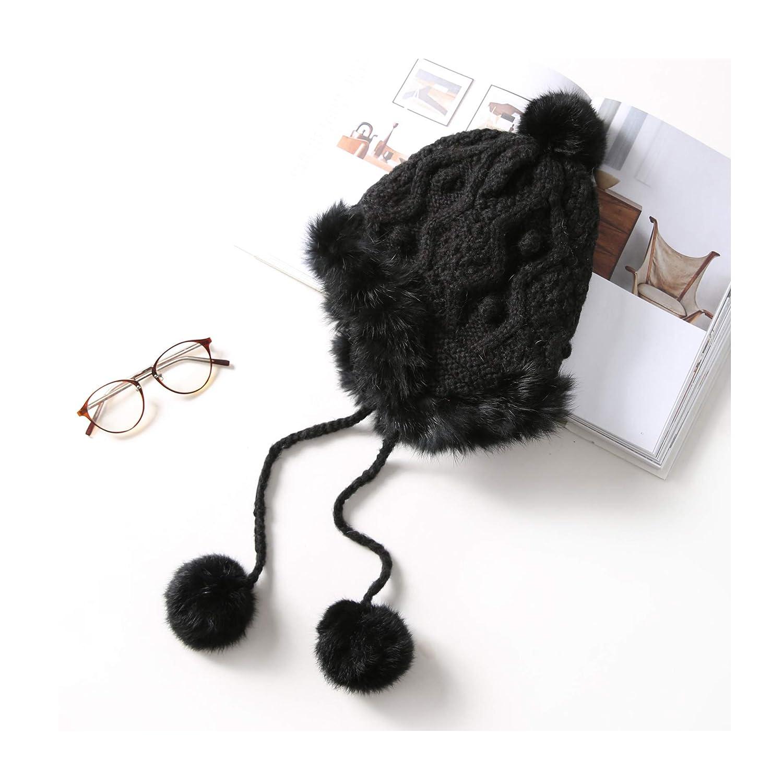 Izellah Forever and Winter Knitted Wool Hat Earmuffs Plus Velvet Cap Pom Pom Ball Winter Ear Flap Cap Skullies Beanies Womens Hats Caps Black color