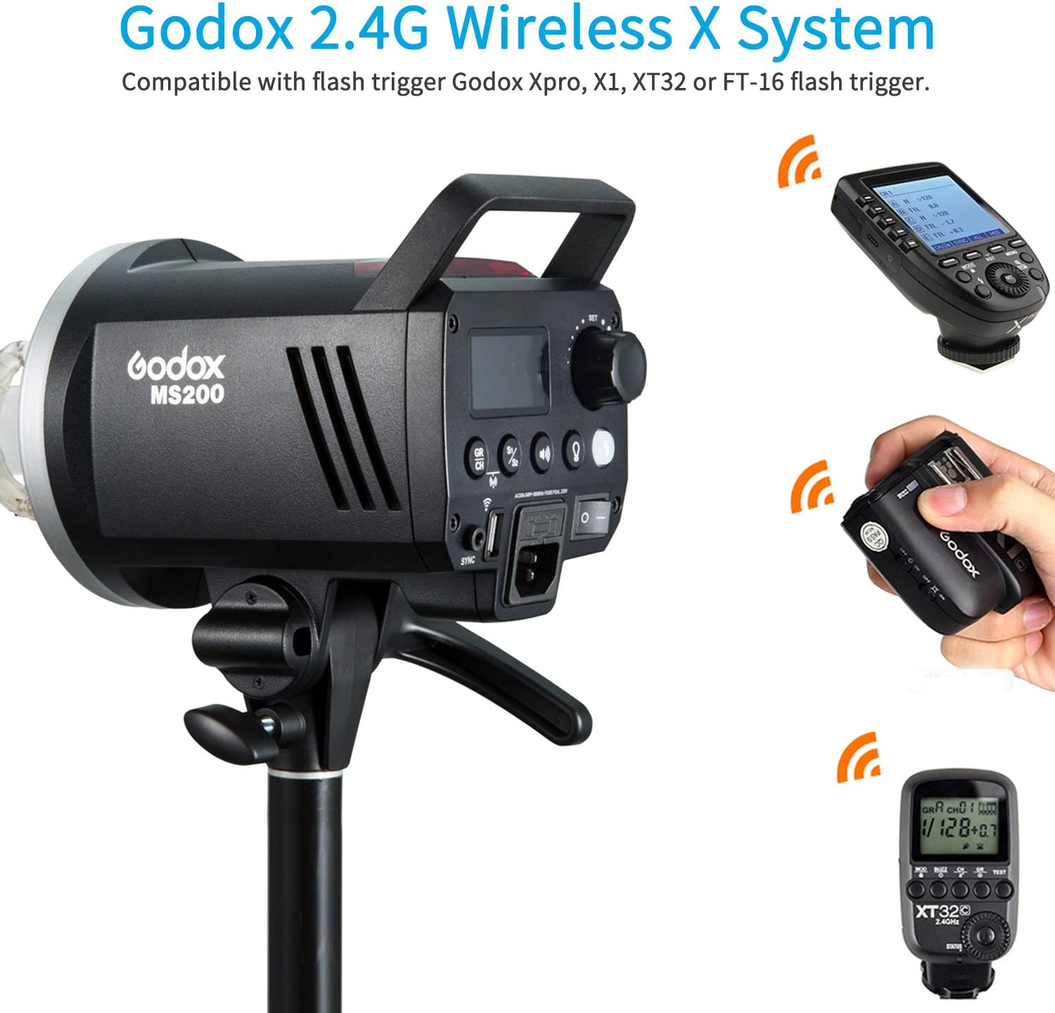 0.1-1.8s Recycle Time Outstanding Output Stability Godox MS200 Compact 200W Studio Flash,Small and Portable 2.4G Wireless X System GN53 5600K Monolight with Bowens Mount 150W Modeling Lamp