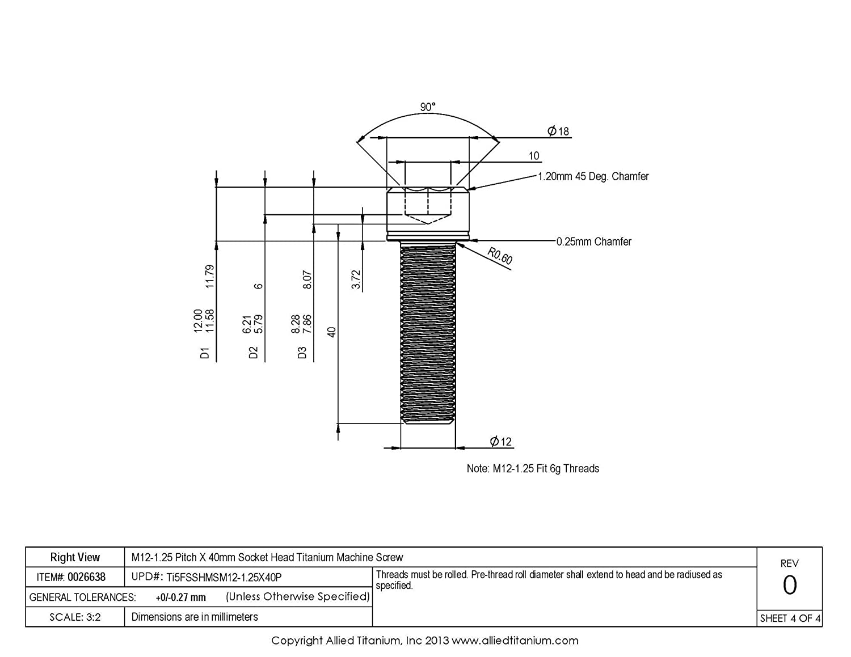 Ti-6Al-4V M12-1.25 Pitch X 40mm Socket Head Machine Screw Grade 5 611228001 Allied Titanium 0026638, Pack of 4 Inc