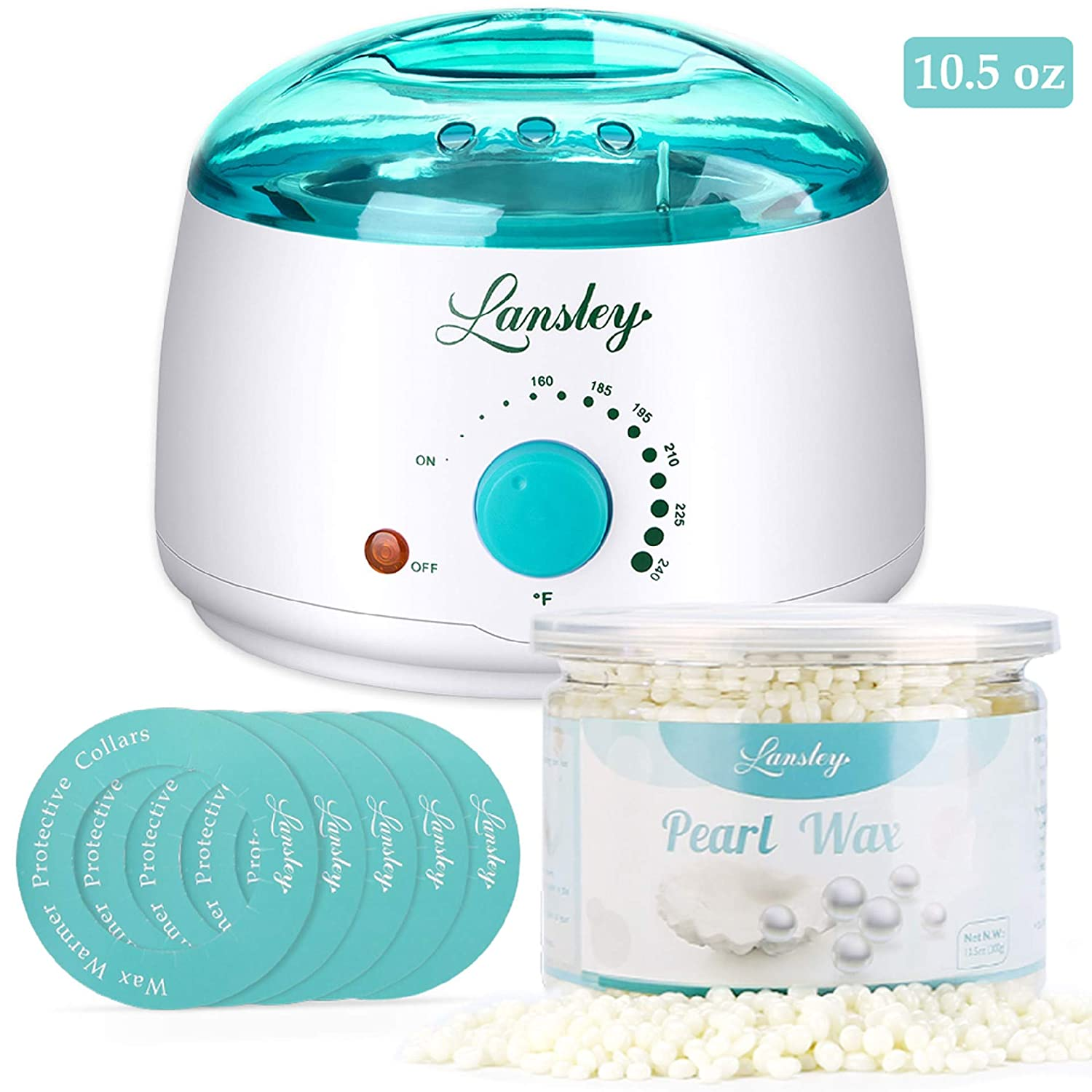 Wax Warmer, Lansley Hair Removal Waxing Kit Wax Heater Melts Wax Beans in Minutes, Rapid Depilatory Machine for Face, Body, Legs, Bikini Area with 10.5 oz Pearl Hard Wax (At-Home Waxing) lifestance