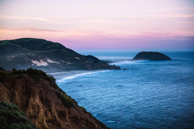 Big Sur Photography Art Print - Picture of Point Sur at Sunrise California Photo Coastal Decor 5x7 to 40x60