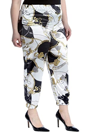 3a3f664ce140d Womens Plus Size Trousers Ladies Cuffed Bottoms Chains   Tassels Print Pants  at Amazon Women s Clothing store