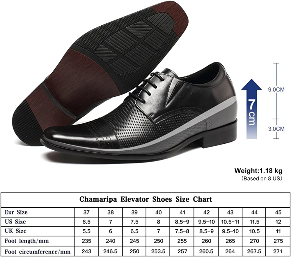 CHAMARIPA Mens Leather Dress Elevator Wing-tip Oxford Shoes 2.76 inches Height Increasing Insoles AK6531-1 Black US8