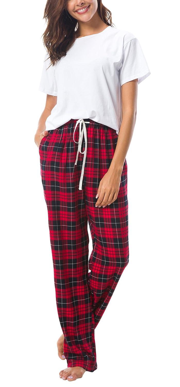 EEVASS Womens Vintage Elastic Waist Plaid Pajama Pants Sleepwear (L, Red) at Amazon Womens Clothing store: