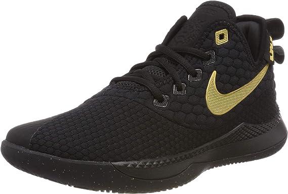 Nike Men's Lebron Witness III Basketball Shoe Black/Metallic Gold Size 11.5  M US