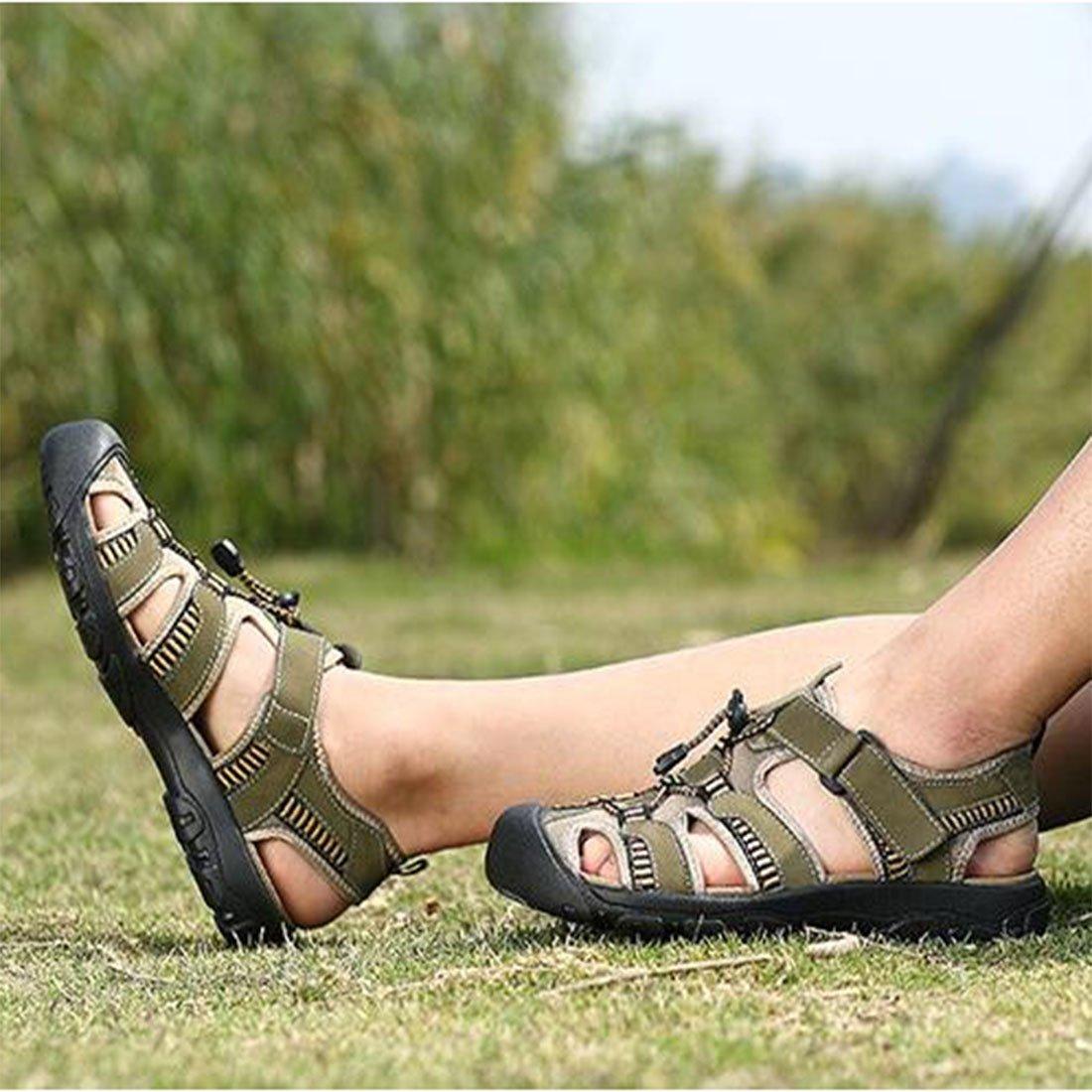Herren Sommer Sport Leder Baotou Sandalen Outdoor Beach Sport Sommer Casual Sandalen,LightBraun,41.5 Lightgreen c4bb35