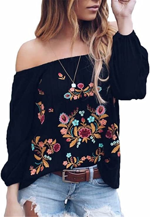 Kangma 2PC Off Shoulder Floral Lace Overlay Long Sleeve Knotted Loose T-Shirt Blouse Tops for Women