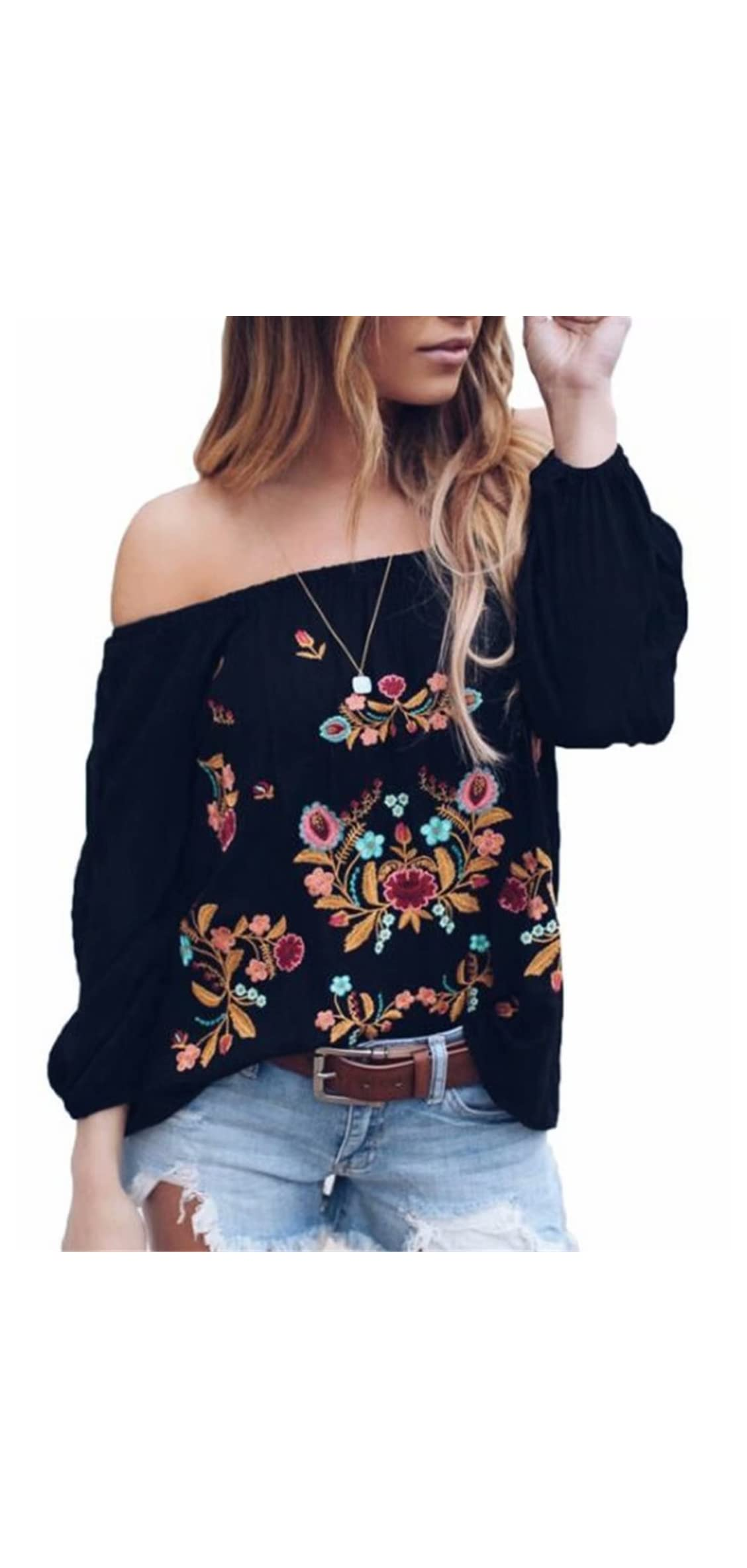 Womens Sexy Off The Shoulder Tops Long Sleeve Boho Floral Casual