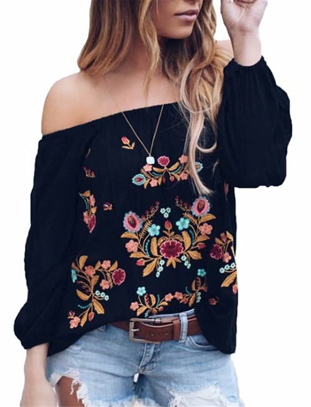 f4ac19b5b925ab Amazon.com  Womens Sexy Off The Shoulder Tops Long Sleeve Boho Floral  Embroider Casual Blouse Shirt  Clothing