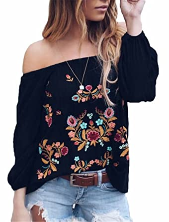 a2d89ab5340 Amazon.com  DUTUT Womens Sexy Off The Shoulder Tops Long Sleeve Boho Floral  Embroider Casual Blouse Shirt  Clothing
