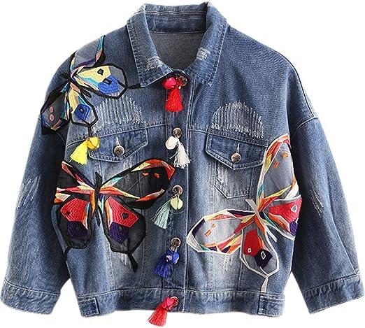 Minetom Damen Mädchen Beiläufig Stilvoll Bestickt Rose Gewaschene Jeans Denim Jeansjacke Jacket Oberbekleidung Coats Mantel Bekleidung