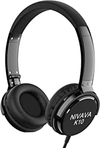 Nivava K10 Headphones with Mic Wired Foldable Lightweight Adjustable On Ear Headset with 3.5mm Jack for iPad Cellphones Computer Kindle Airplane (Black)