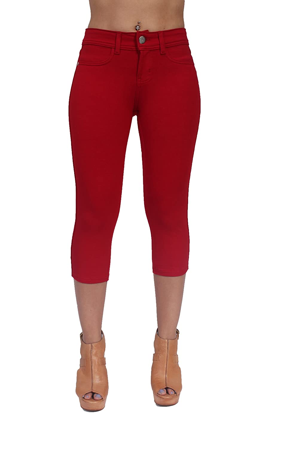 Basic Brazilian Cut Sexy French Terry Moleton Capri in Red Color JW -212RED