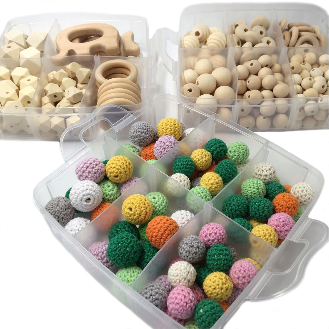 Amyster 2boxes DIY Nursing Jewelry Combination Package Crochet Beads Blending Natural Round Geometry Wooden Beads Wood Ring Creative Freedom (S501+S502)