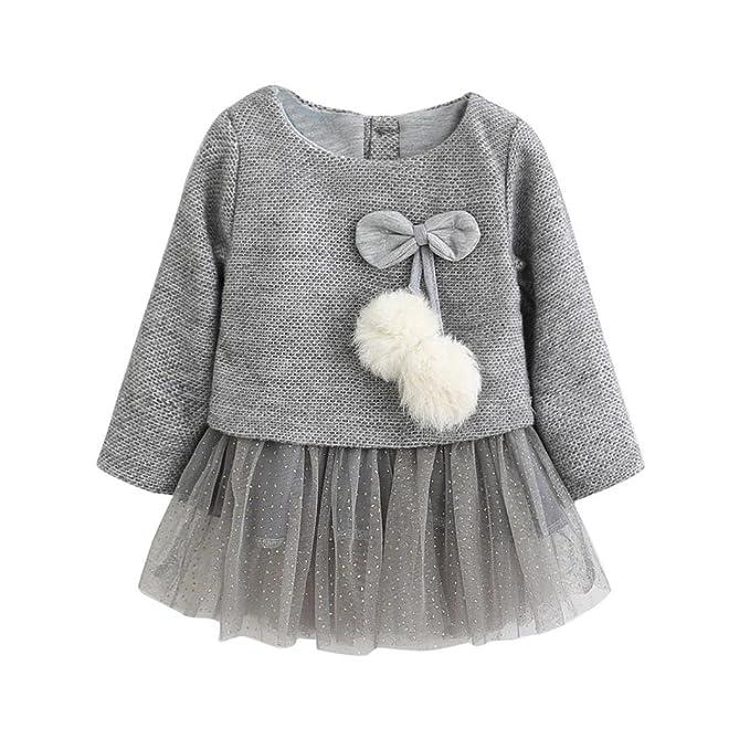 a904fd2c45a vmree Baby Princess Dress, Toddler Newborn Kid Girls Long Sleeve Knitted  Bow Tutu Lace Dress