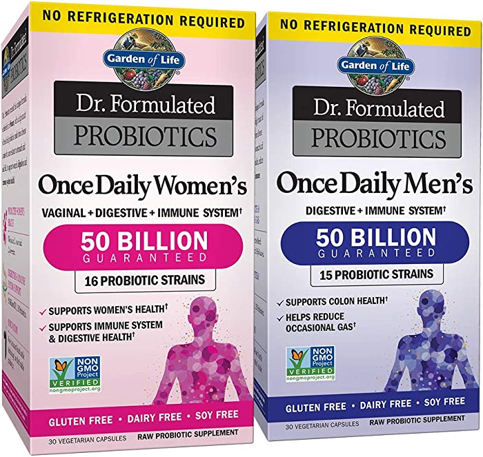 Garden of Life Probiotic Bundle: Dr. Formulated Once Daily Women's & Men's Probiotics, 50 Billion CFU Shelf Stable, Non-GMO Probiotic for Men & Women with Prebiotic Fiber, 30 Capsules Each