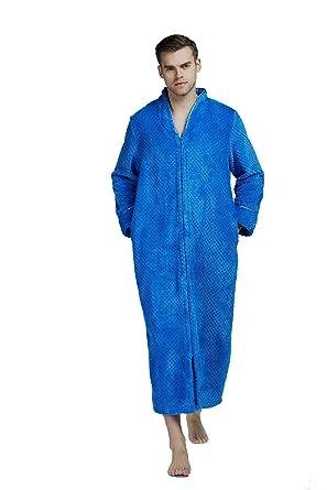 1becce714b Flannel Full Length Bathrobes Plush Fleece Long Robes for Men with Zipper  (Blue